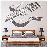 azutura Guitare électrique Sticker Muraux Musique Rock Autocollant Mural École pour Enfants Décor Disponible en 5 Dimensions et 25 Couleurs Moyen Noir