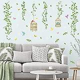 decalmile Pegatinas de Pared Hojas Verde Aves Vinilos Decorativos Vid Colgantes Adhesivos Pared Dormitorio Salón Oficina