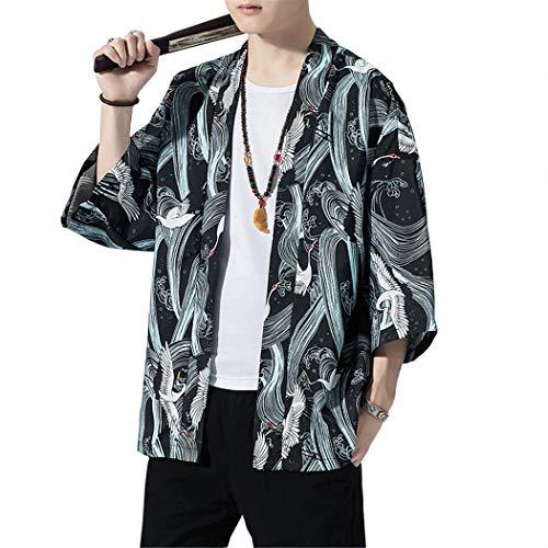 MISSMAOM_Fashion2019 Cappotto Uomo, Cloak Chinese Style Cardigan Kimono Giapponese per Uomo Donne Casual Kimono Jacket,# 711 Nero,L