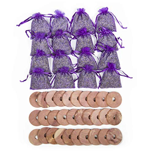 Pack of 46 Cedar Blocks and Lavender Flower Sachets Craft Bag, Drawer Freshener, Linen, Shower Favor, Wedding Gift and More