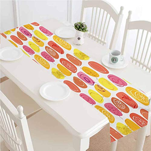 LCGGDB Fruits Dining Table Runner,Retro Pine Lemon Kiwi Raspberry Pop Art Modern Food Icons Caricature Graphic Kitchen Rectangular Runner,14x60 Inch,for Party Event Decorations Multicolor