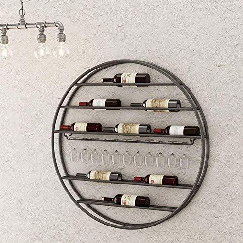 BFDMY Botella De Vino Redondo Estante De Metal Redondeado De Copa De Vino/De Cuero/Copas Colgando Pared Pared Decoración Cocina Barra,Negro,75CM Diameter