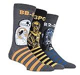 Film und TV SockShop Herren Star Wars R2-D2, C-3PO & BB-8 Droids Pack Baumwolle Socken Packung mit 3 Assortiert 46-48