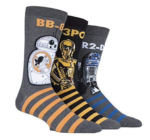 Film und TV SockShop Herren Star Wars R2-D2, C-3PO & BB-8 Droids Pack Baumwolle Socken Packung mit 3 Assortiert 39-45