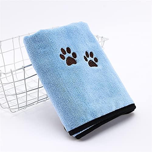 ペットタオル刺繍入り、マイクロファイバーPETバスタオル、犬や猫のための2パック、居心地の良い超吸収剤、入浴旅行のビーチのビーチ風呂タオル (Color : Blue, Size : 50*90cm)
