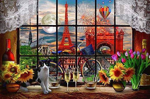 CXVXC Puzzle 1000 Piezas para Adultos, La Hermosa Torre Eiffel, Máxima Calidad de impresión,Juguetes clásicos Rompecabezas, DIY Rompecabezas para Adultos - 75 * 50Cm