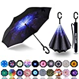 MRTLLOA Inverted Umbrella, Umbrella Windproof, Reverse Umbrella, Umbrellas for Women with UV Protection, Upside Down Umbrella with C-Shaped Handle Starry Star
