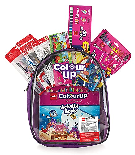 Cello ColourUP Hobby Bag for Kids   Drawing Kit   Stationery Kit   Best for Gifting   Oil Pastel (25 Units)   Jumbo Wax Crayon (12 Units)   Free Activity Book   8 Assorted Items   Celebration Kit