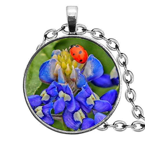 Sunshine - Collar de Mariquita con diseño de Red Azul, Joyas de declaración, Adornos de Cristal de cúpula, Regalos para Ella, Hermosos Collares