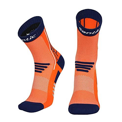 Santic Calze Ciclismo Uomo Donna Traspirante Arancione M