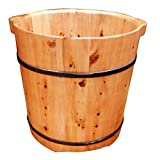 JPL Cubo de baño de pies de madera natural, barriles de madera pedicura cuenca 37 cm de alto cedro madera unilateral burbujas piernas barril de madera de espuma de madera Cuenca de pie