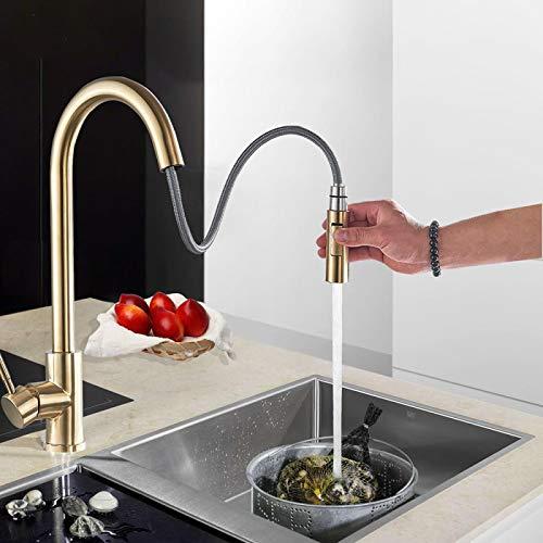 Cepillado oro grifo de la cocina fregadero mezclador pull out giratorio caño fregadero corriente rociador cocina caliente agua fría grifo
