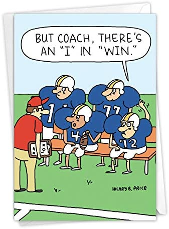 NobleWorks Team Talk Football Coach Thank You Card with Envelope From All Of Us C6960TYG US product image