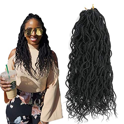 Senegalese Twist Crochet Hair Braids Extension 20inch 144strands/lot enough for full head Wavy Curly Twist Crochet Hook Synthetic Ombre Color Braiding Hair Japanese Fiber Havana Mambo (black)