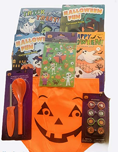 Multi Set for Boys Or Girls Ages 3 and up Pumpkin Carving Trick or Treat Bag Stickers Coloring Books