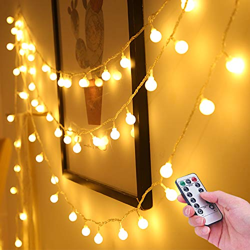 Unihoh Globe Fairy String Lights Battery Powered 33FT/10M 100Leds Indoor String Lights LED 8 Modes Waterproof with Remote & Timer for Bedroom Christmas Wedding Garden Party Decoration - Warm White