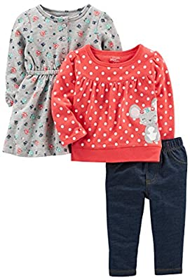 Simple Joys by Carter's Baby Girls' 3-Piece Playwear Set, Red/Grey Mouse, 0-3 Months