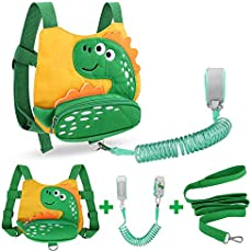 Toddler Harness Safety Leashes + Anti Lost Wrist Link Set, Accmor Cute Dinosaur Harness Leash, Child Walking Wristband Assistant Strap Belt for Boys Girls (Yellow)