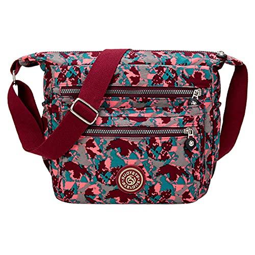 NAQUSHA Bolso de mano para mujer, bolso grande para mujer, bolso informal con muchos compartimentos, bolso de mano elegante Rojo sandía A Talla única