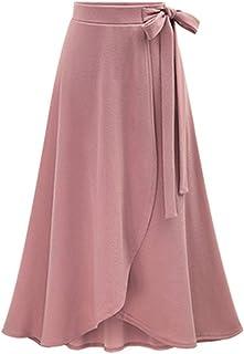 5201f71d1a MuCoo Women's Solid High Waist Irregular Hem Flowy A-line Flared Skirt Slit  Midi Skirts