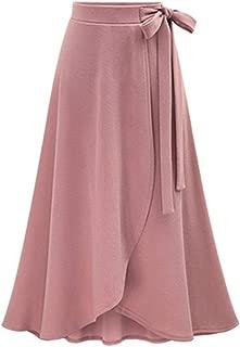 Women's Solid High Waist Flowy A-line Flared Skater Slit Midi Maxi Skirt