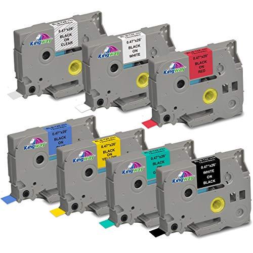 Kingway Nastro per etichette Compatibile per Brother TZ Tape 12mm 12mm 0.47 TZe Tape TZe-131 231 431 531 631 731 335 per stampante Etichette PTD200 D400 D210VP 1010 H105 1000