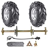 TDPRO 1' Go Kart Steel Live Axle with 16x8-7 Tubeless Wheels Tires Rim and Chain Sprocket Brake Master Cylinder for Quad Trike Golf Carts