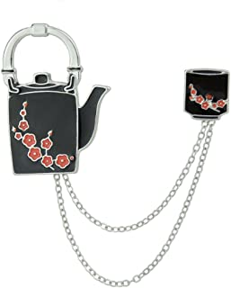 Feelontop Red Color Flower Black Enamel Teapot and Cup with Chain Pattern Brooches with Jewelry Pouch