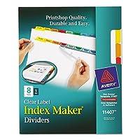 Index Maker印刷&適用クリアラベルディバイダーW /カラータブ、8-tab Letter 1-Pack