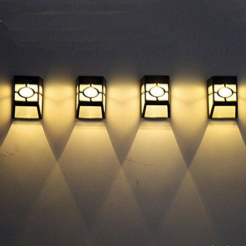 Wanshop LED Solarleuchte mit LED-Lampen, Gartenleuchte, Solarlampen für Außen, Wandleuchte, Halbkugel Wasserdicht für Haus, Zaun, Garten, Garage, Schuppen, Treppe, Garten Deko (4PC Gelb)