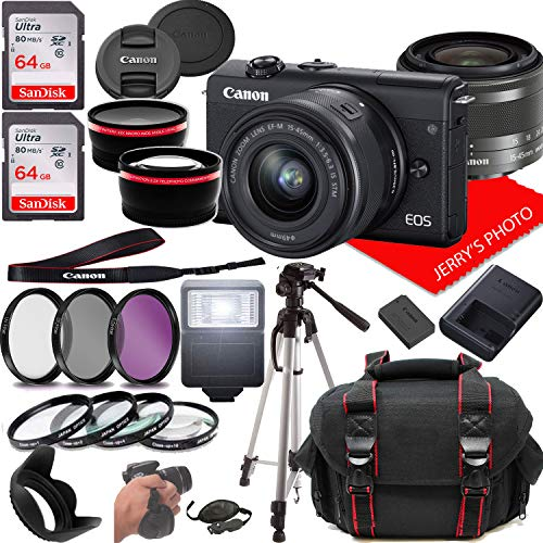 Canon EOS M200 Mirrorless Camera Kit w/EF-M15-45mm and 4K Video + Case + 128GB Memory (25pc Bundle)