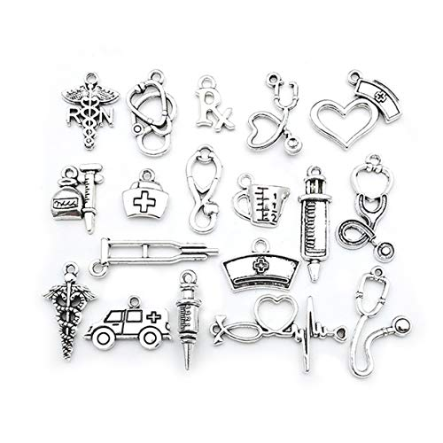 Antique Silver Tone Medical Charms Syringe Stethoscope Nurse Cap Hat for Jewelry Making Crafting Accessory DIY Necklace Bracelet 70 pcs