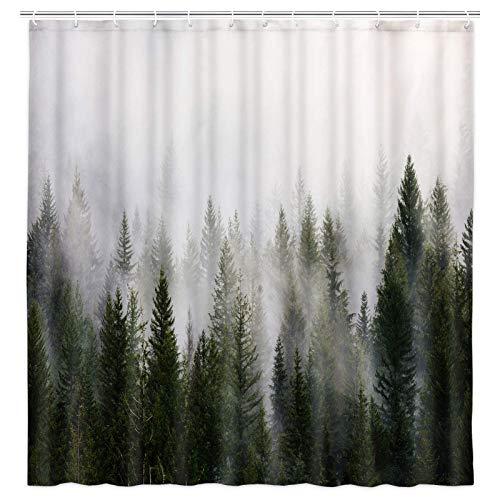 Duschvorhang für Herren, Natur-Duschvorhang mit Bäumen, Nebel, Rauch, Nebel, Wald, Badezimmer-Dekoration, Cool Mountain Duschvorhang-Set mit Haken, 175 x 178 cm