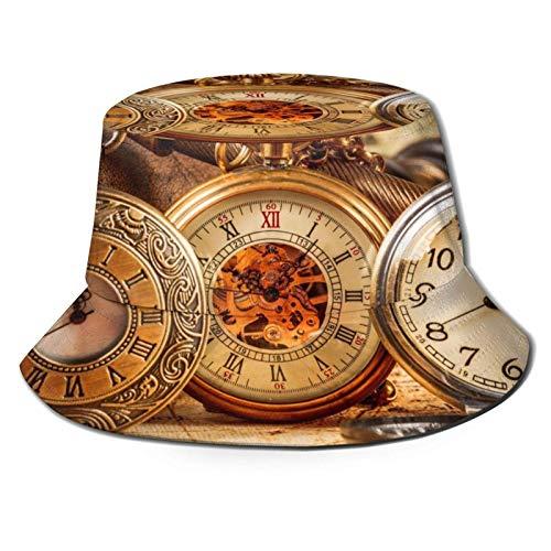 Reloj Retro Reloj de Bolsillo Sombrero de Cubo Unisex Gorra de Verano al Aire Libre Sombreros de Sol Plegables para Senderismo Deportes de Playa Negro