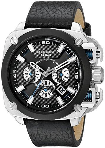 Relógio masculino Diesel DZ7345 Bamf de aço inoxidável de couro preto