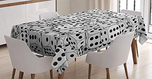 LIS HOME Kasino-Dekorations-Tischdecke, die Würfel-Nahaufnahme-abstrakte einfarbige chaotische gedrängte Spielhäuser, Esszimmer-Küchen-rechteckige Tischdecke