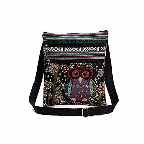 Bolsos Mujer Mochilas Retro Bolsos Bandolera Grandes Multifuncional Lona Tipo Casual bordadas del búho de las mujeres Bolsos Paquete del cartero