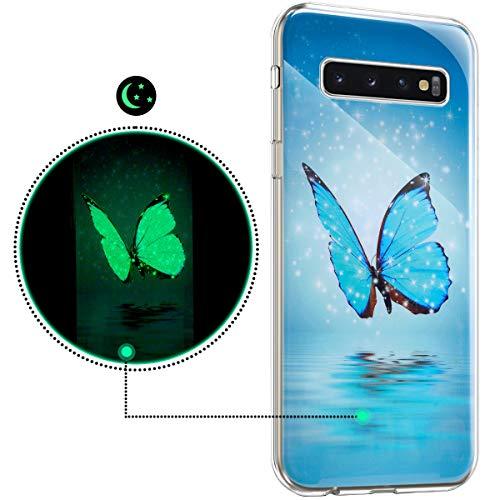 Surakey kompatibel mit Samsung Galaxy S10 Plus Hülle Weiche Flexible Silikon Handyhülle,Blau Schmetterling Muster Luminous Leuchtend Ultra Dünn Soft TPU Schutzhülle Klar Slim Stoßfest Bumper Cover