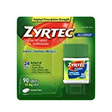 Zyrtec 24 Hour Allergy Relief Tablets, 10 mg Cetirizine HCl Antihistamine Allergy Medicine 90 ct