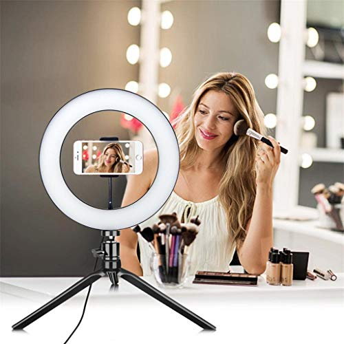 10 Zoll LED Selfie Ringlicht mit Stativ, 360-Grad-Schwenk LED Ringleuchte mit Lichtstativ Stativ und Handy Halterung Handyhalter und Fernbedienung für Make-up, YouTube, Fotografie, Video