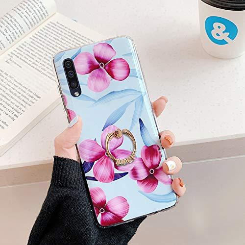 Herbests Kompatibel mit Samsung Galaxy A70 Handyhülle Case Blumen Blätter Muster TPU Silikon Hülle mit Ring Halter Ständer Schutzhülle Ultradünn Tasche Rückschale Stoßfest Case,Lila Rosa Blumen