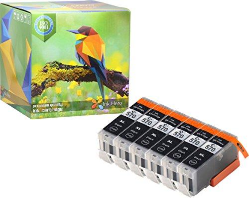 Ink Hero – Cartucho de tinta refabricado para usar en lugar de Canon 571XL, 570XL (Pigmento negro, pack de 6)