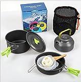 WT9 Kit de Utensilios Cocina Camping, Set de Utensilios de Cocina de Camping, Antiadherente, Bolsa de Malla con Mochila para Acampadas, Senderismo, Picnic,Green