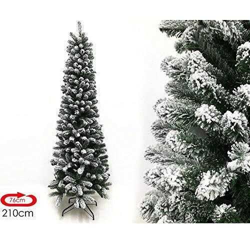 Rotex Albero di Natale Innevato Slim Realistico e Molto Folto Apertura Ad Ombrello, Salvaspazio (210 cm)
