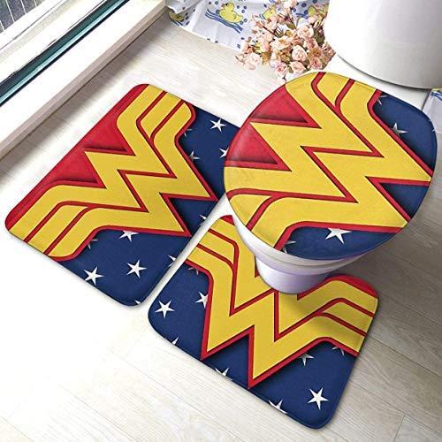 Wonder Woman - Juego de 3 alfombrillas de baño para baño con almohadillas antideslizantes suaves + almohadillas de contorno + tapa de inodoro, alfombra absorbente de baño y alfombrilla antideslizante