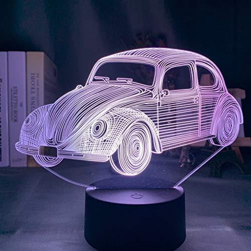 Usb Acrílico 3D Luz 7 Color Noche Luz De Coche Volkswagen Beetle Adecuado Niños Niños Dormitorio Decoración Luces Amigos Cumpleaños Año Nuevo Regalo