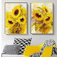 キャンバスウォールアート2ピース40x60cmフレームなし水彩花ひまわりポスタープリントリビングルームの装飾モダンミニマリストポップアート家の装飾