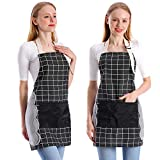 Koorhiere 2 Pack Adjustable Cooking Kitchen Apron, Apron 2 Pockets Cotton Linen, Chef Apron Gift Unisex BBQ Crafting Drawing Outdoors