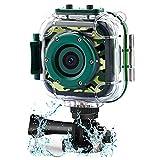 DROGRACE Cámara de acción para niños Impermeable 1080P Videocámara para niños y niñas con Pantalla LCD de 1,5' y Zoom Digital