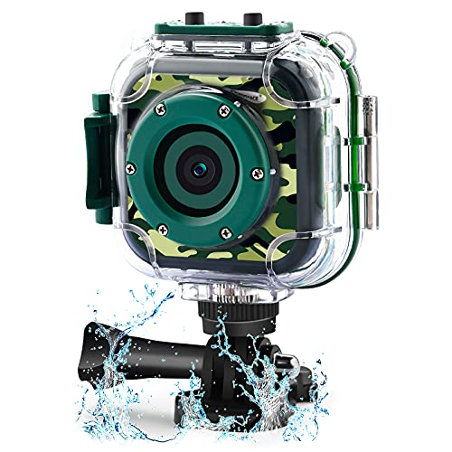 DROGRACE Fotocamera per Bambini Fotocamera Digitale HD 1080P Videocamera Subacquea per Sport Impermeabile Videocamera per Ragazze Ragazzi Compleanno Bambini Prima Fotocamera (Verde)